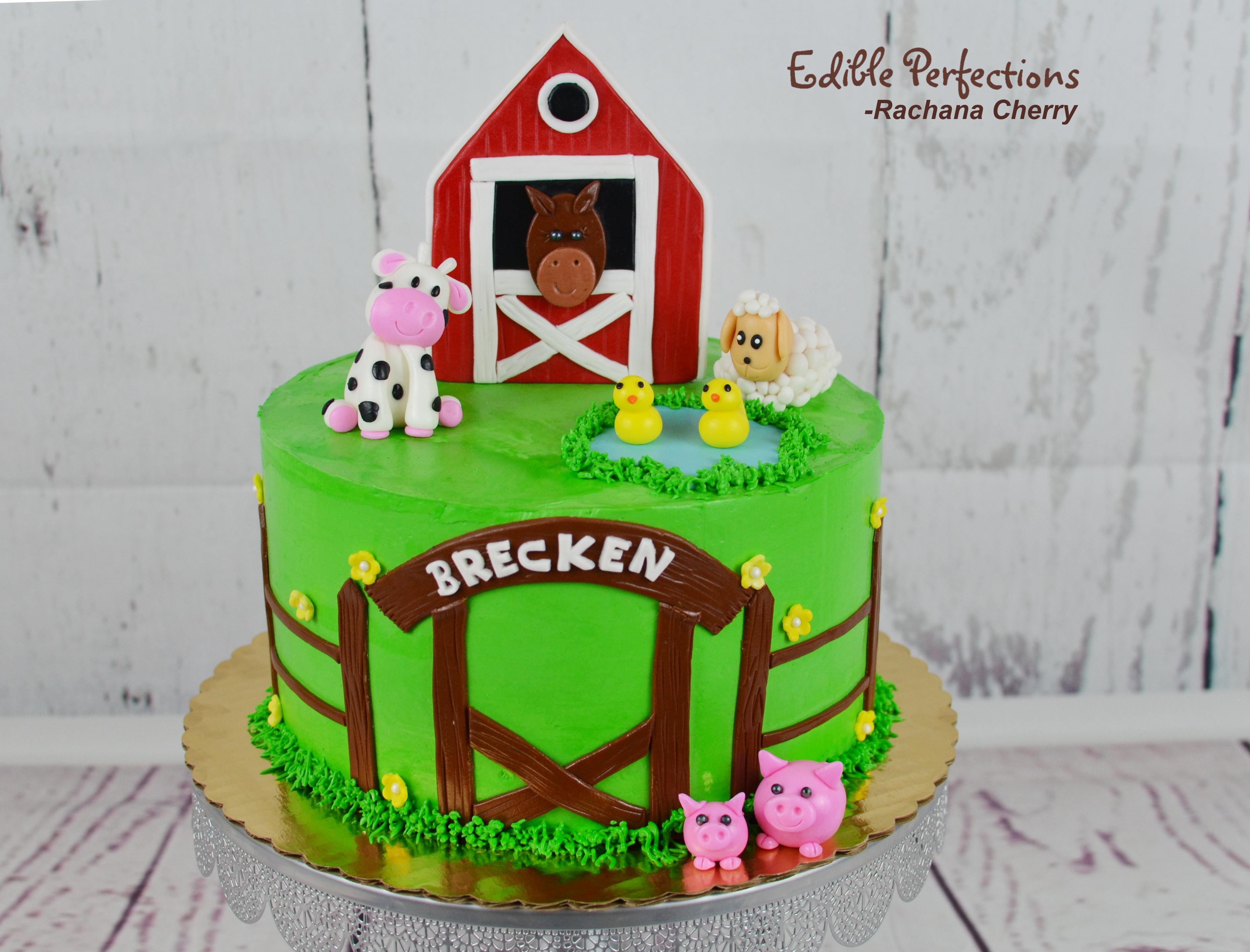 Brilliant Barn Aminals Cake Petting Farm Cake Edible Perfections Personalised Birthday Cards Veneteletsinfo