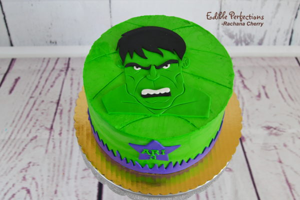 Superb Incredible Hulk Cake Edible Perfections Personalised Birthday Cards Veneteletsinfo
